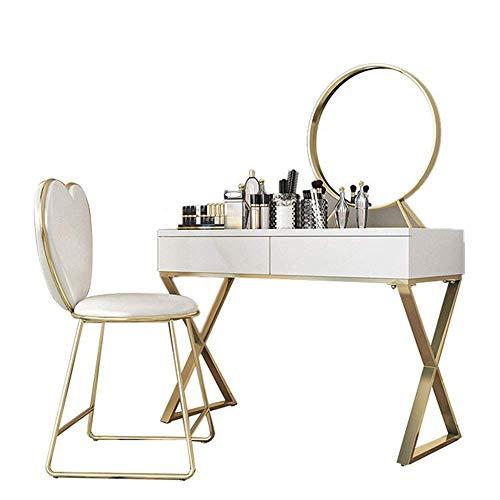 Equipo diario Tocador Mesa de metal de madera maciza con espejo Mesa de maquillaje y taburete acolchado para computadora portátil o escritorio de estudio Mesa de escritura práctica y conveniente (C