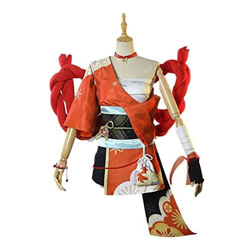 YOU339 Genshin Impact Cosplay Kostüm Yoimiya Halloween Cosplay Outfits Halloween Karneval Party Phantasie Rollenspiel Kleidung Outfit Komplettes Zubehör Set