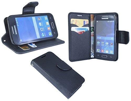 ENERGMiX Buchtasche kompatibel mit Samsung Galaxy Trend 2 Lite G318HN Hülle Case Tasche Wallet BookStyle in Schwarz