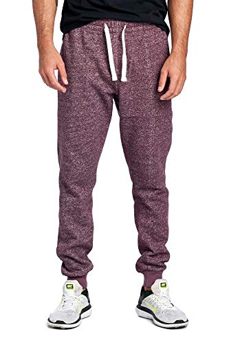 ProGo Men's Joggers Sweatpants Basic Fleece Marled Jogger Pant Elastic Waist (X-Large, Marled Burgundy)