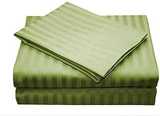 ARlinen 3/4 Full Bunk Sheet Set 100% Egyptian Cotton 6-Piece Bed Sheet Sets Sateen 500-Thread-Count Fit Mattress up to 15 Inch Deep Pocket Premium Quality Sage Stripe Sheets.