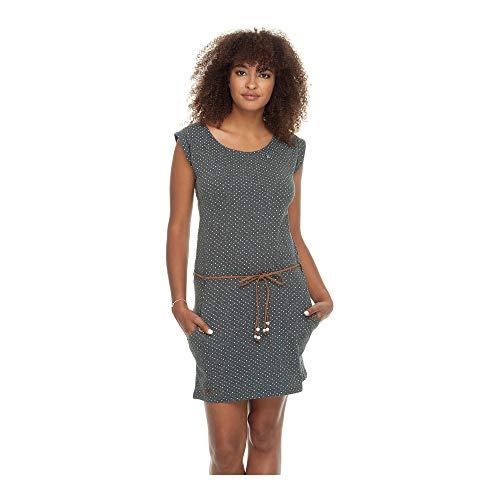 Ragwear Tag DOTS Damen,Kleid,Sommerkleid,ärmellos,vegan,Rundhalsausschnitt,Taillengürtel,Taschen,Black,XL