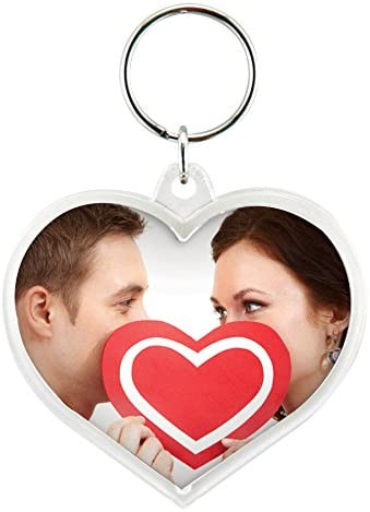 Heart Acrylic Snap-in Photo Keychain 2020モデル of 72 Pack 内祝い -