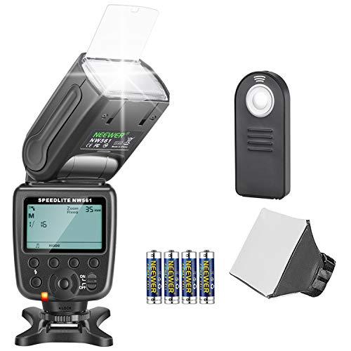 Neewer NW561 Flash Flash Flash Flash Set per fotocamere Canon Nikon Olympus Fujifilm DSLR. Contiene: NW561 Flash + diffusore flash + telecomando 5 in 1, 4 batterie + panno per la pulizia
