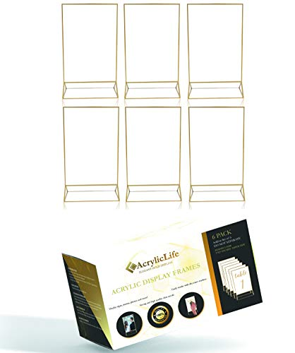 Gold Acrylic Frame Picture Table Holder | Ideal for Double Sided Sign, Clear Photo Holders, Menu Set, Art Display, Wedding Number Stand Decor, Set of 6 5 inches x 7 inches Holders