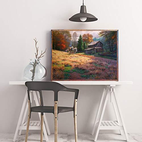 WSNDGWS Wall Art Moonlight Serenade Forest Lake Decoración del hogar Pintura Sin Marco de Imagen E5 50x70cm