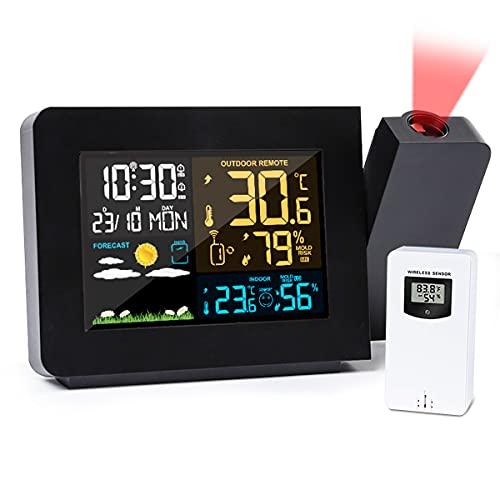 CHWARES Wetterstation mit Außensensor Funk Farbdisplay, Projektionswecker Einstellbare Hintergrundbeleuchtung, Digital Thermometer HygrometerDrahtlose Wettervorhersagestation Innen Außen