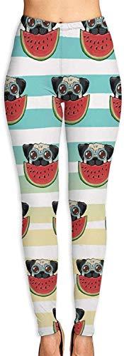 Carl Hamilton Yoga-Hose mit hoher Taille für Damen, Motiv: Wassermelone, Mops, Sonnenbrille, Yogahose, Bauchkontrolle, Leggings Gr. 27-32, weiß