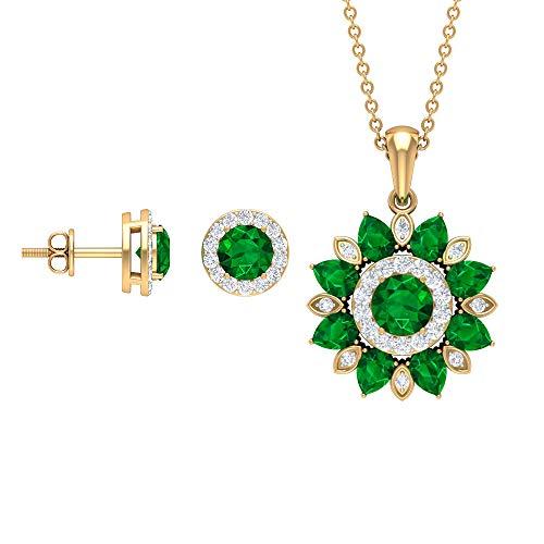 Emerald and Diamond Jewelry 3.54 CT, joyería floral, juego de colgante de oro con pendientes (5 mm redondo, 4 x 3 mm esmeralda en forma de pera) verde
