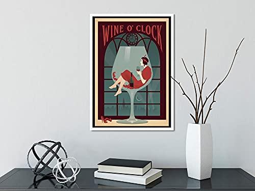 MG global Póster de vino y reloj, póster de chica y vino, chica ama el arte del vino, vino y perro, sin marco