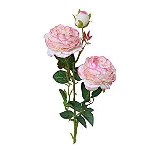 Wakeu Artificial Western Rose Fake Silk Flower Peony Single Floral Home Decor Living Room Bedroom Garden Party Wedding Decoration in Pots Vase for Desk Table