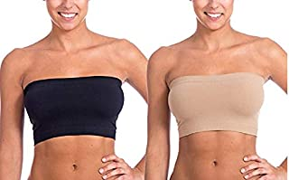 Ritu-Creation Women's Spandex and Nylon Non-Padded and Wired Seamless Strapless Stretch Tube BraBandeau Top (RCNONPADTUBE...