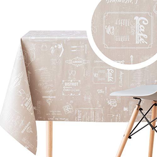 Beige Wachstuchtischdecke mit Weiß Kreidetafel Kaffee Muster, Rechteckig 300 x 140 cm, 10 Stuhl, Strapazierfähig, Abwischbar, Wasserdichtes Bistro Retro PVC-Tischdecke Strapazierfähig Wachstischdecke