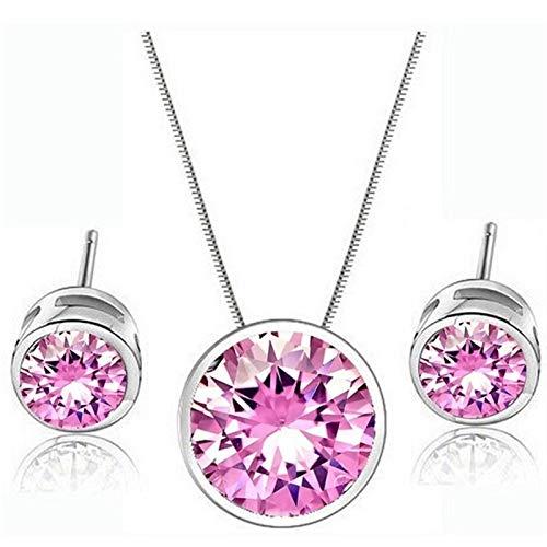 QWERBAM Forma Redonda de Punto pequeño Muchos Colores Configuración de Color Zirconia cúbica Pendientes Collar Conjuntos Juegos de joyería de Fiesta for Mujeres (Length : 45cm, Metal Color : Pink)