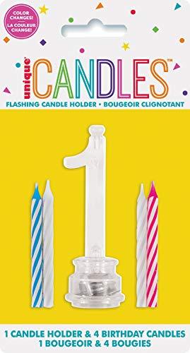 Unique Party- Portavelas de cumpleaños intermitente número 1 con 4 velas (37531)