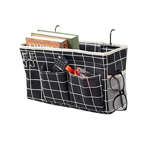 Fittoway - Organizador de mesita de noche con bolsillo para colgar en la cama, bolsa de almacenamiento de noche, bolsa colgante para teléfono, mando a distancia, revistas, gafas y libro (negro)