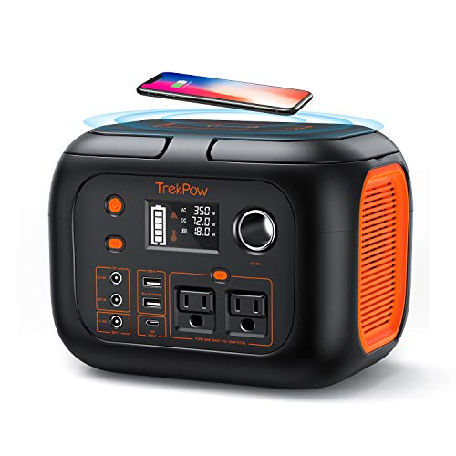 350W Portable Power Station, TrekPow 296Wh 80000mAh Solar Generator, Generators for Home Use with 2 AC Outlet 2 DC 3 USB Ports, Backup Battery with Flashlight for Outdoor Adventure
