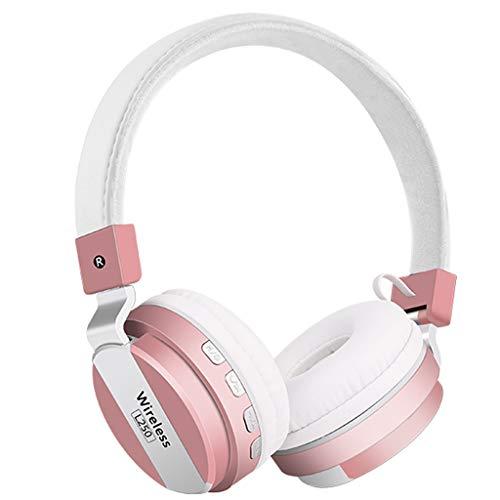 Yowablo Kabellos Kopfhörer Bluetooth Drahtloses Headset Bluetooth 4.2 Stereo OverEar Faltbare Kopfhörer Eingebautes Mikrofon(Rosa)