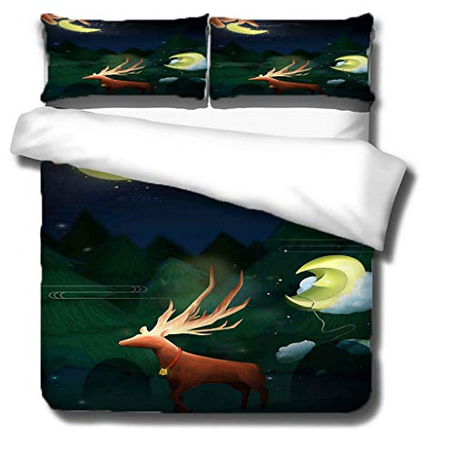 Generic Branded Duvet cover-Christmas Deer 100% superfine fiber Softness Comfort Easy to maintain Bedding for ALL-SEASON - Double bed: 1 piece quilt cover 94.5x87 inch, 20x30 inch pillowcases x 2 -