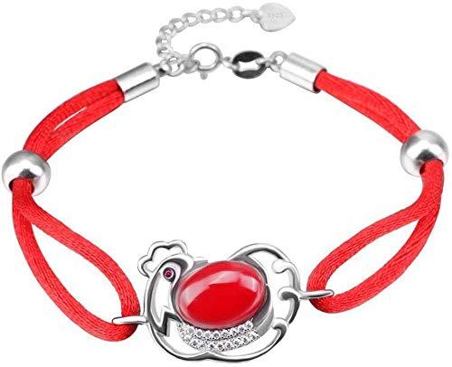 Schöne armband frauen einstellbare s925 silber rot seil tier küken kristall kreative wilde glück wilde armreif accessorie charme einfache glitzernde schöne beste jahrestag geburtstag schmuck geschenk