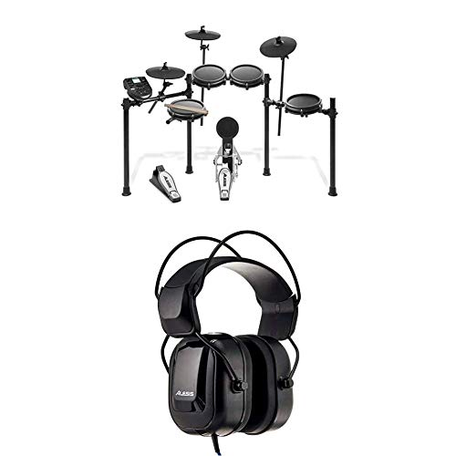 Alesis Nitro Mesh Kit – Eight Piece Mesh Electronic Drum Set With 385 Sounds + DRP100 – Extreme Audio-Isolation Electronic Drum Reference-Headphones