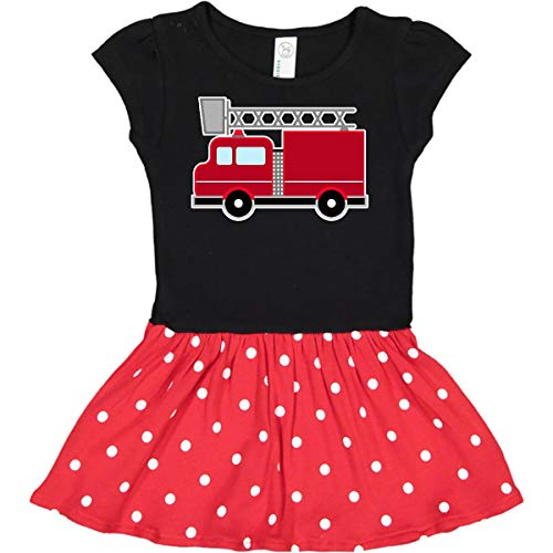 inktastic Red Firefighter Toddler Dress 2T Black & Red with Polka Dots 2871a