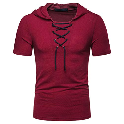 MENHG Men's Slim Fit Plain Color Drawstring Sweatshirt Short Sleeve Hoodies Hoody Tank Tops Men Cotton Lace Casual Sports Fitness Hooded Pullover Breathable and Comfortable T-Shirt Blouse Shirts Red