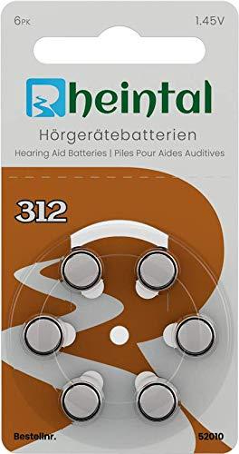 Rheintal - 30 Premium Hörgerätebatterien Typ A312 für alle Hörgeräte mit Batteriefarbe BRAUN - 1,45V - PR41