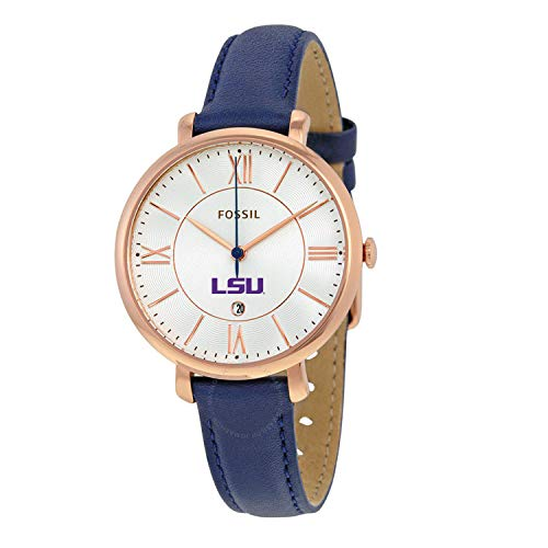 Fossil NCAA LSU Tigers Womens Jacqueline Watch, Navy/Rose Gold, One Size