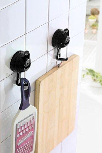 Preisvergleich Produktbild culinario Saughaken 2er-Set aus Kunststoff,  schwarz,  Ø 5, 8 cm