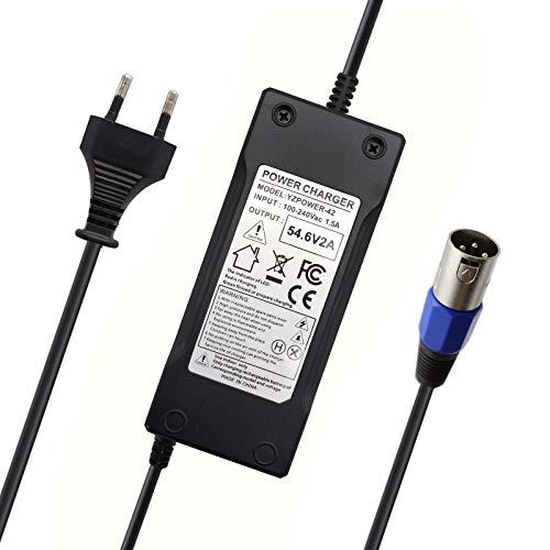Abakoo Cargador para baterías de iones de litio de 48 V, 54,6 V, 2 A, con conector XLRM, para bicicletas eléctricas, monopatines, bicicletas y baterías de 13S