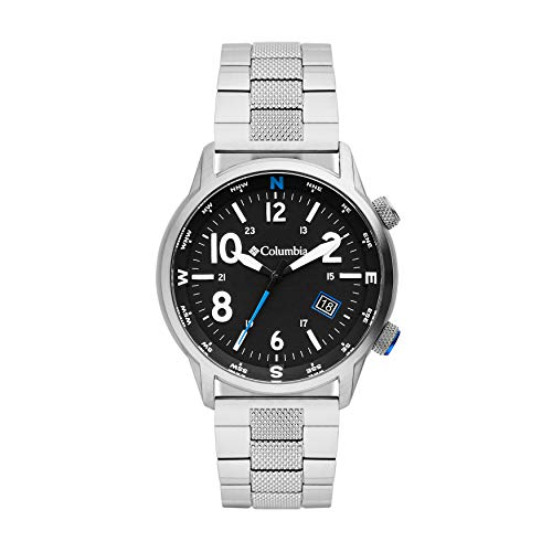 Columbia OUTBACKER Quartz Watch with Stainless Steel Strap, Silver, 11 (Model: CSC01-005)