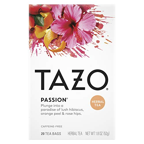 Tazo Herbal Tea Tea Bags For a Refreshing Beverage Passion Caffeine-Free 20 Tea Bags, Pack of 6