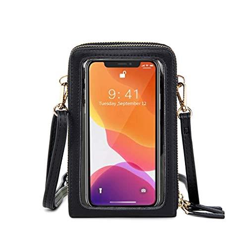 WTALL Monedero de Cuero para teléfono Bolso Bandolera pequeño Mini Bolsos táctiles para Pantalla de teléfono Celular