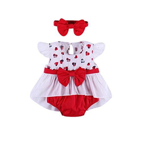 Jitong 3pcs Completini e Coordinati per Bambina Neonata Stampato Bowknot Maglietta Top + Mutandine + Headband Estivi Confortevole Outfit Set