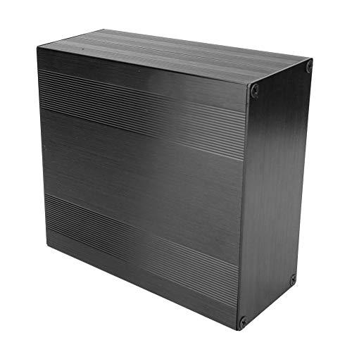 Minibox de aluminio electrónico, Caja de caja electrónica ligera Caja de enfriamiento de aluminio de tipo dividido de óxido negro cepillado Caja electrónica de caja para amplificador GPS(250mm)