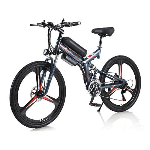 Bicicleta eléctrica plegable para hombres/ mujeres de 26 pulgadas 350W 10Ah 36V batería de litio bicicleta eléctrica auxiliar bicicleta de montaña eléctrica multimodo ( Color : Gris )