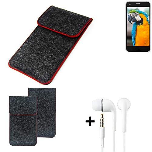K-S-Trade® Handy Schutz Hülle Für Vestel V3 5040 Schutzhülle Handyhülle Filztasche Pouch Tasche Case Sleeve Filzhülle Dunkelgrau Roter Rand + Kopfhörer