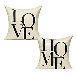 Love Home Cotton Cushion Covers 18x18, Set of 2