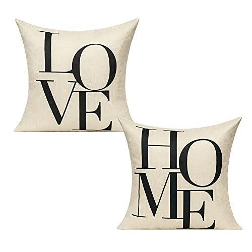 All Smiles como Carta Símbolo Impreso Amor Poliéster Lino y Algodón Funda de Almohada Funda de Cojín 18X18Inches Piilow Casos, Love&Home, 18