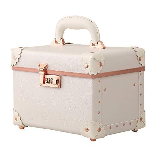 urecityMaletín de maquillaje portátil de doble capa, bolsa de aseo de cuero para mujer, 38,1 cm Cuello, Rosa Blanco, 1.00[set de ]