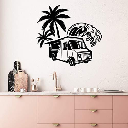 QQCYWZK Food Truck Decalcomania da Muro in Vinile Adesivi Stile Fast Food Street Beach Mu 42x39cm