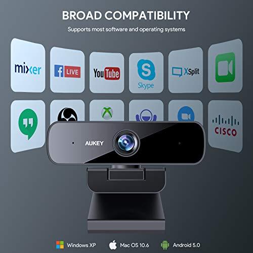 AUKEY 1080p Webcam, Full HD USB-Computerkamera mit Stereomikrofonen und hohem Dynamikbereich für PC/Laptop-Videoanrufe und -Aufzeichnungen (Schwarz1)