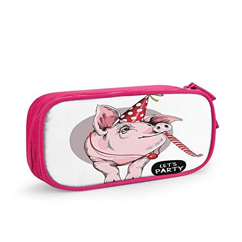 Nicokee Pink Pig Federmäppchen Haustier Party Hut Fliege Geburtstag Schweinefleisch Aufbewahrungstasche Beutel Halter Box mit Reißverschluss für Büro Reise Make-up Pink