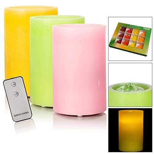 DbKW (Rosa) LED Brunnenkerze mit Wasserspiel und Fernbedienung - Echtwachskerze als Zimmerbrunnen mit LED Beleuchtung + 12tlg. Kalff Seifenset
