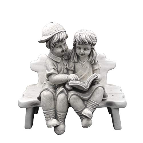 gartendekoparadies.de Massive Steinfigur Junge mit Mädchen auf Bank aus Steinguss frostfest
