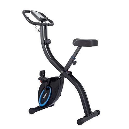 LONTEK Bicicleta Estática Plegable, 8-Niveles de Magnetorresistencia Ajustable, Bicicleta Estática Fitness Silenciosa para Casa, Bicicleta de Ejercicio con Sensor de Pulso, Peso Máximo 120KG