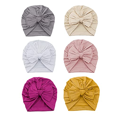 Bestjybt 6 Pcs Baby Turban Knot Hats Newborn Infant Toddler Hospital Hat Cotton Head Wrap (Big Bow)