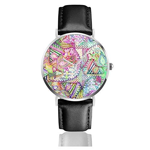 Abstrait Girly Neon Rainbow Paisley Motif Sketch Montre à quartz étanche Bracelet en cuir pour hommes et femmes Simple Business Casual Montre
