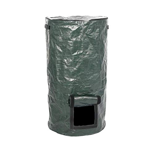 Stecto PE Compost Bag, Environmental Organic Compost Ferment Bag with Zipper & Double Handles, Foldable Kitchen Waste Disposal Composter Bin for Garden